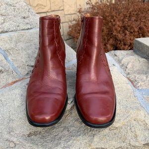 Franco Sarto Cognac Leather Booties 8.5